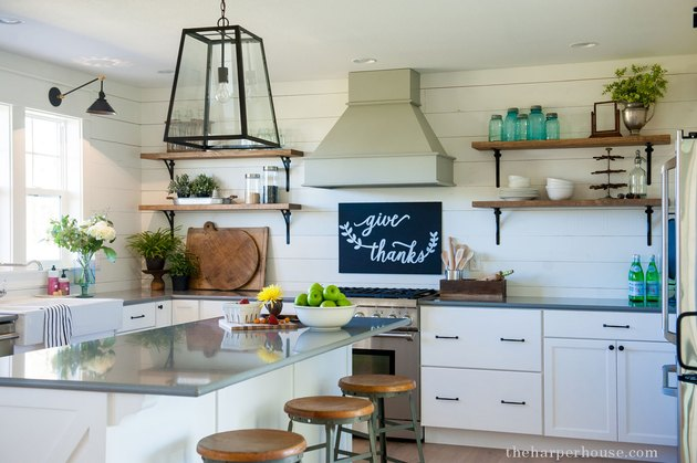 Shiplap behind cabinetry