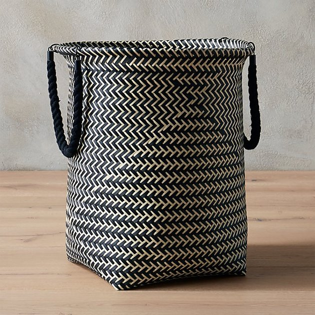 black and white laundry hamper