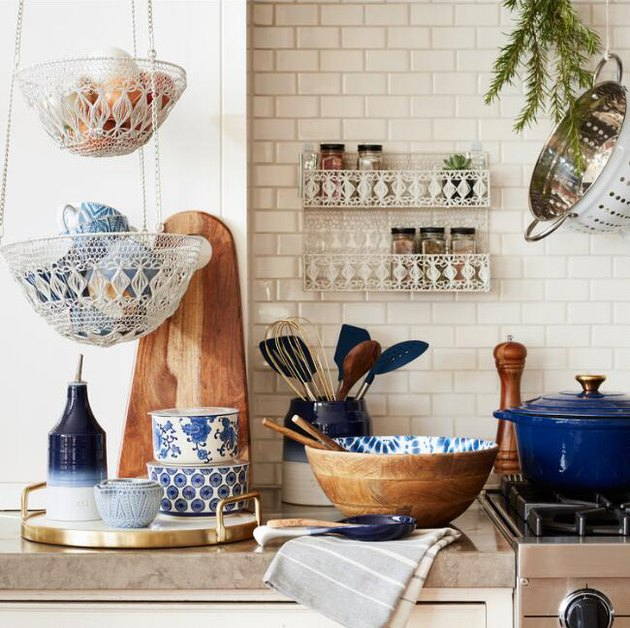 small kitchen storage idea hanging woven macrame baskets