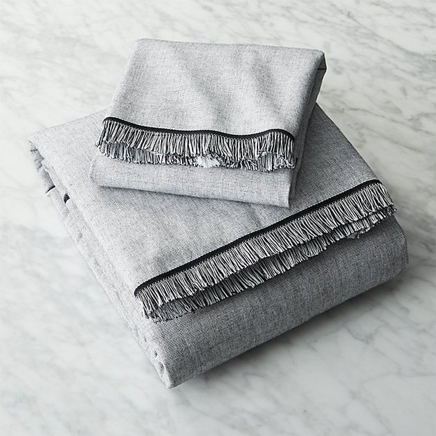 bath towels on a marble surface