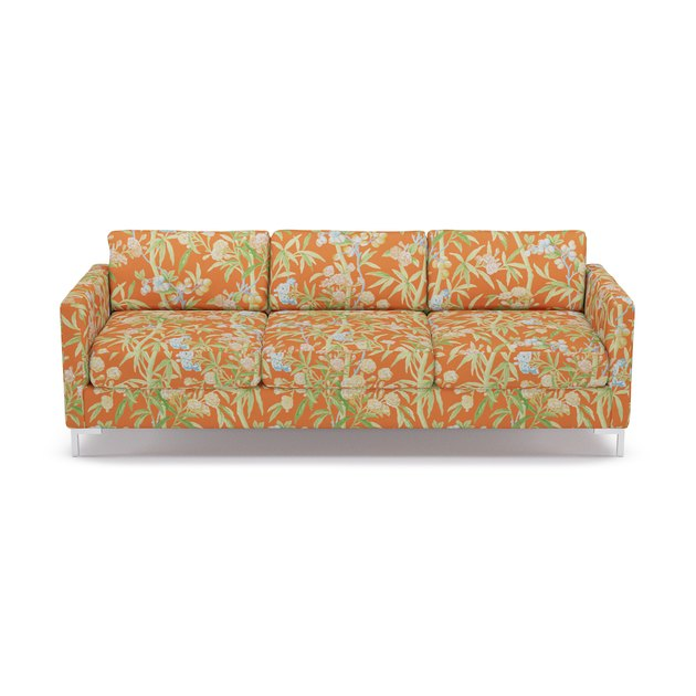 sofa with orange tropical pattern
