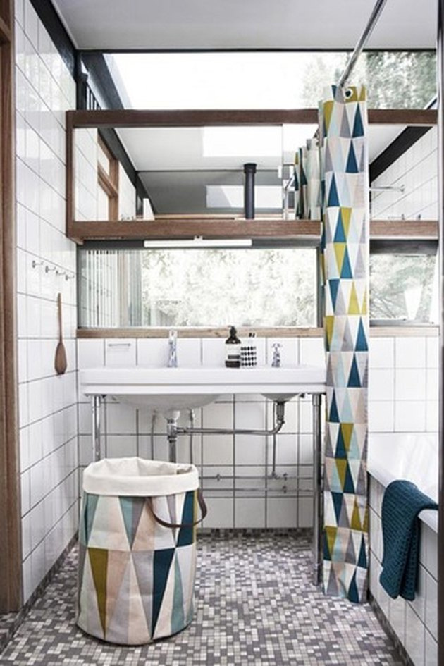 geometric print shower curtain in modern bathroom