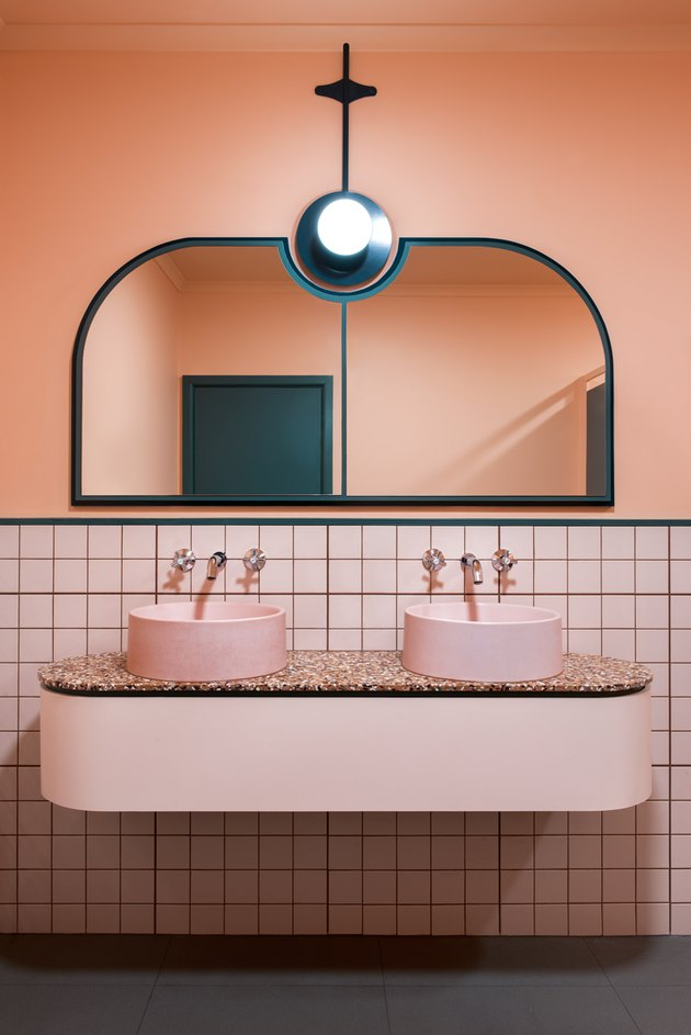 pink bathroom with pink terrazzo countertop