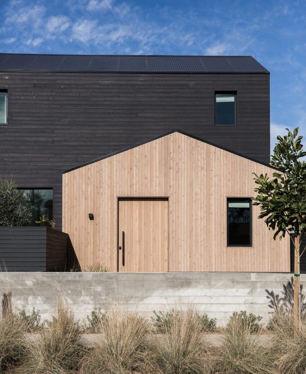 black and wood exterior house colors