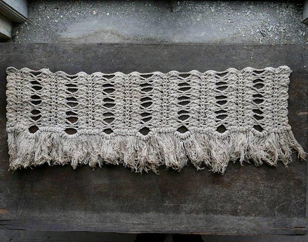 Vintage Victorian crochet with macrame fringe.