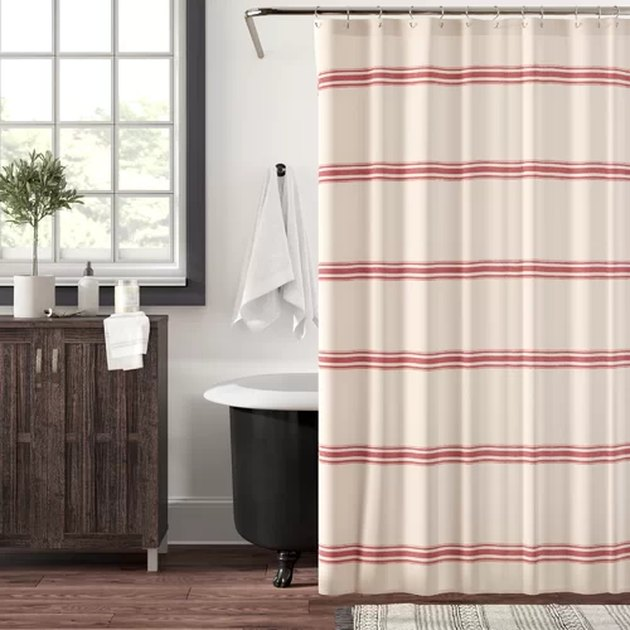 striped cotton bathroom shower curtain idea in rustic space