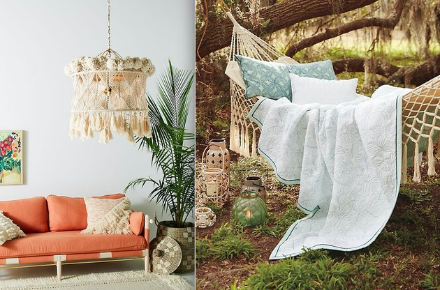 Macramé chandelier ($598) and hammock ($128) from Anthropologie.