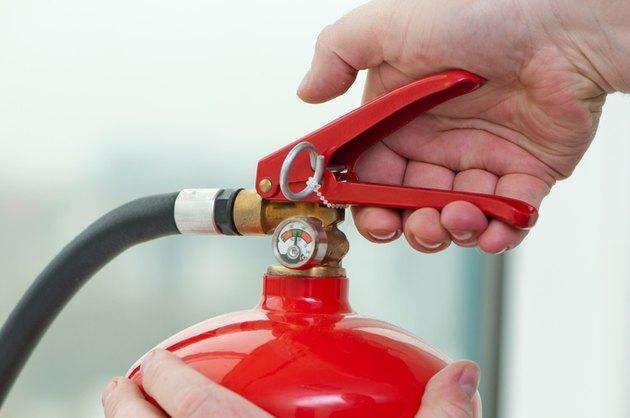 Fire extinguisher pressure gauge.