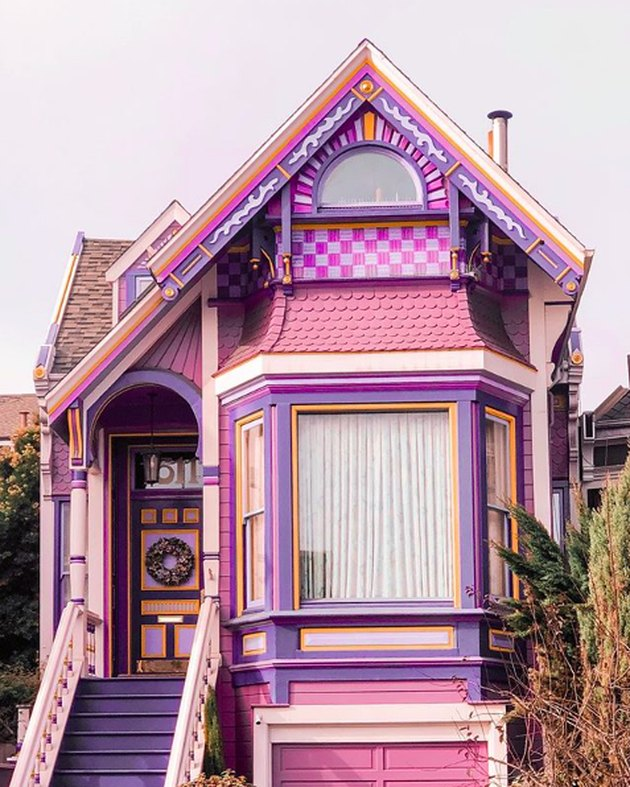 Purple and pink exterior house colors