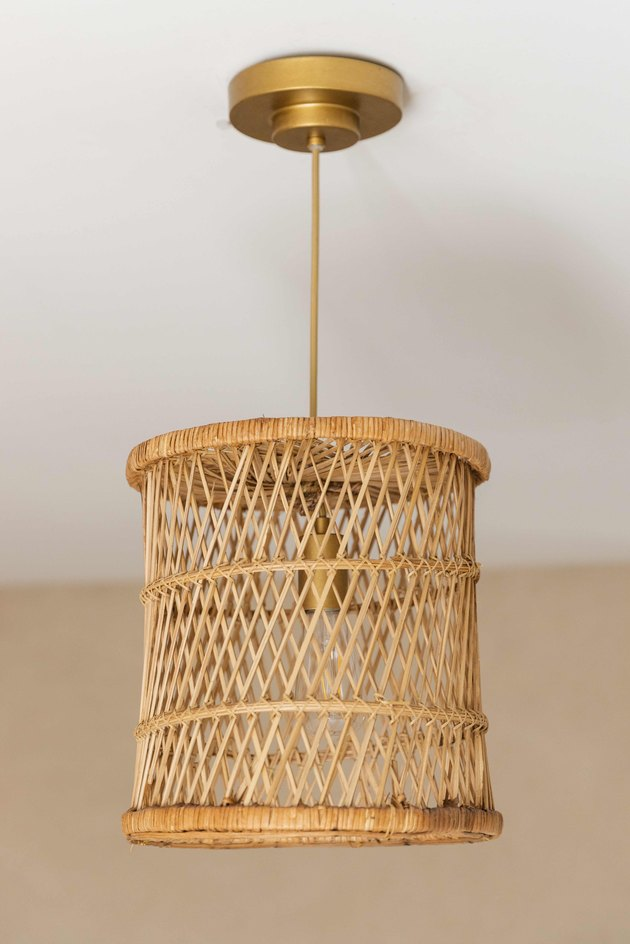 Pendant lamp made from a vintage basket.