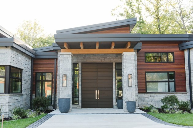 red wood and stone for house exterior