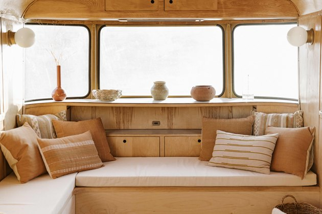 Built in couch with handmade textiles.