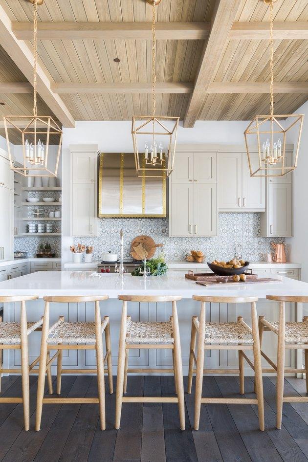 modern farmhouse kitchen backsplash with cement tile
