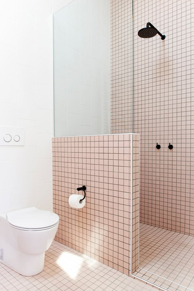 pink alcove shower