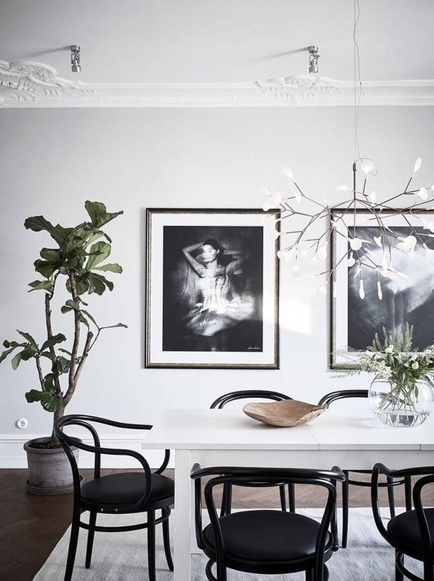 Scandinavian dining room with greenery