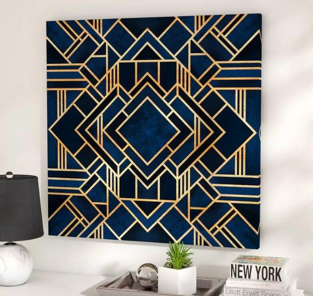 blue art deco wall art