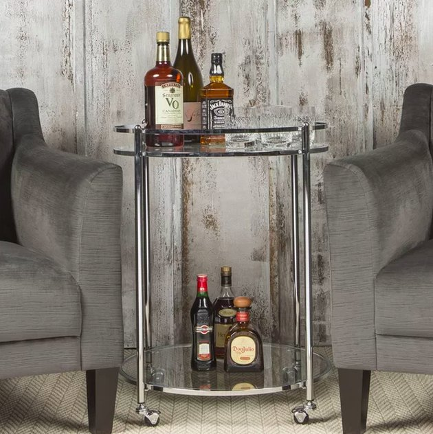 art deco style chrome bar cart
