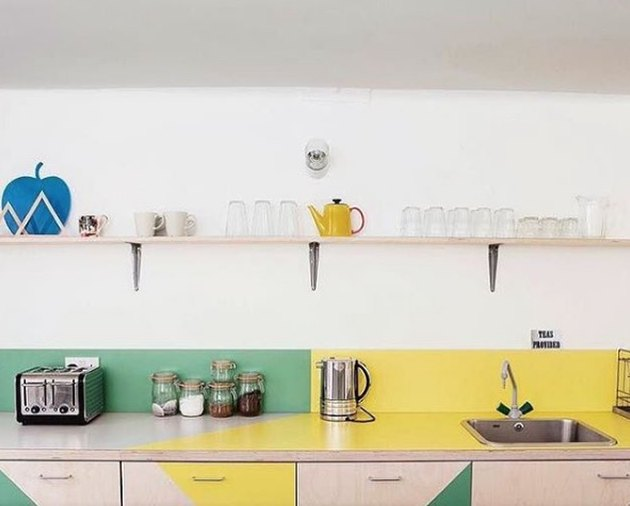 Color-blocked kitchen