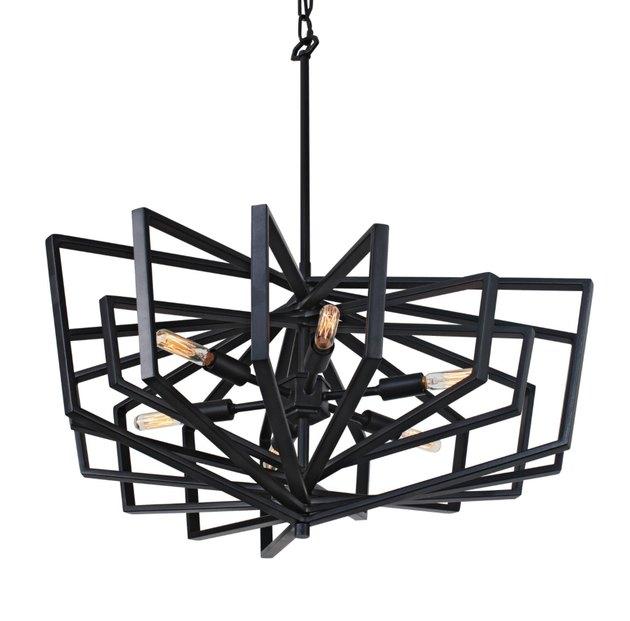 Black metal geometric pendant light