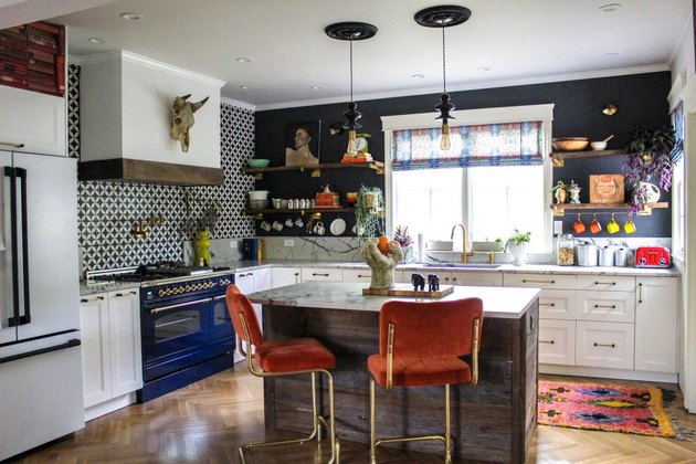 A bold kitchen with many patterns and colors