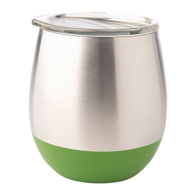 stainless steel tumbler with green bottom