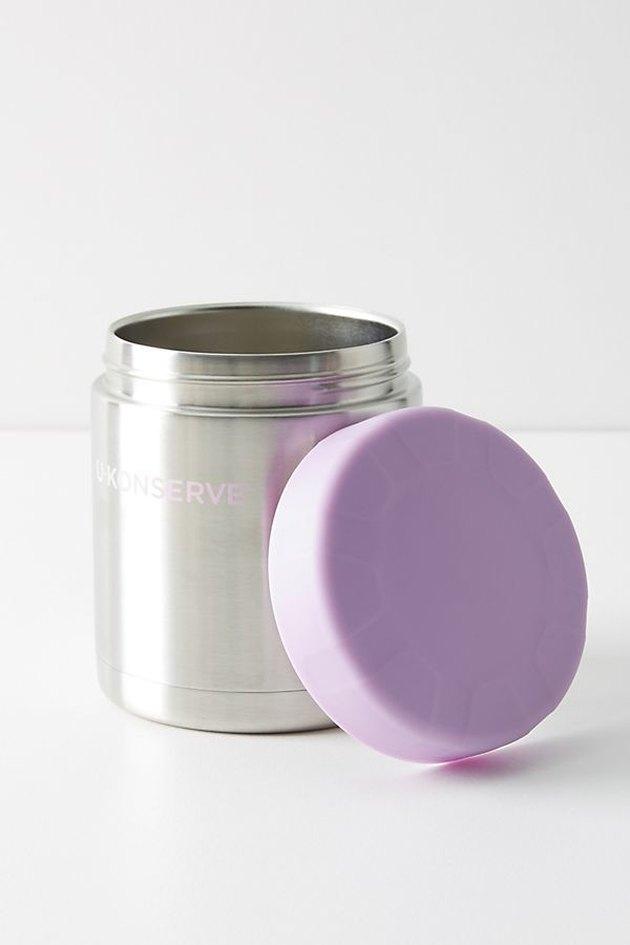 food jar with lavender lid