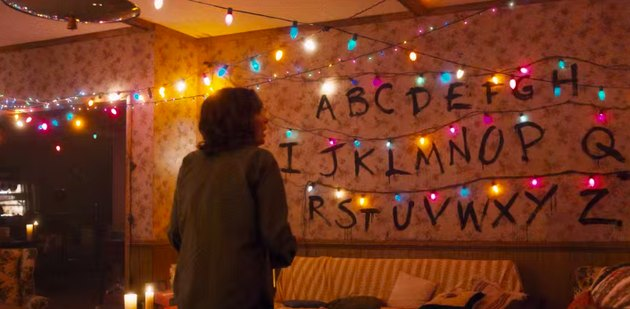 screenshot showing living room with lights and letters