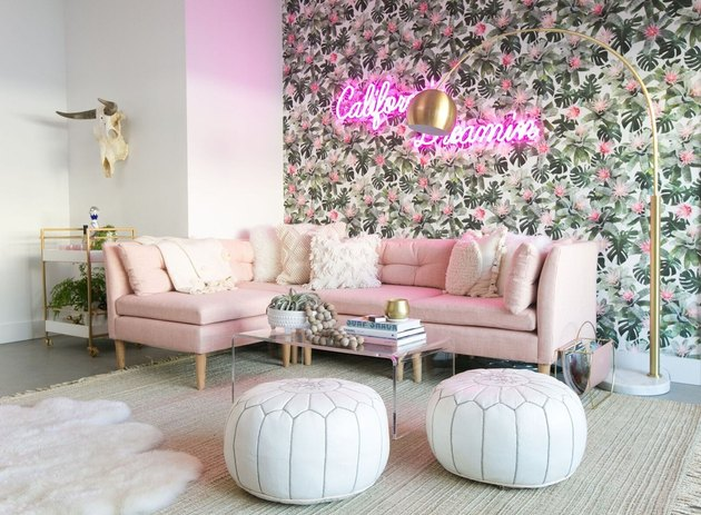 Lauren Bushnell's living room with California Dreaming neon sign