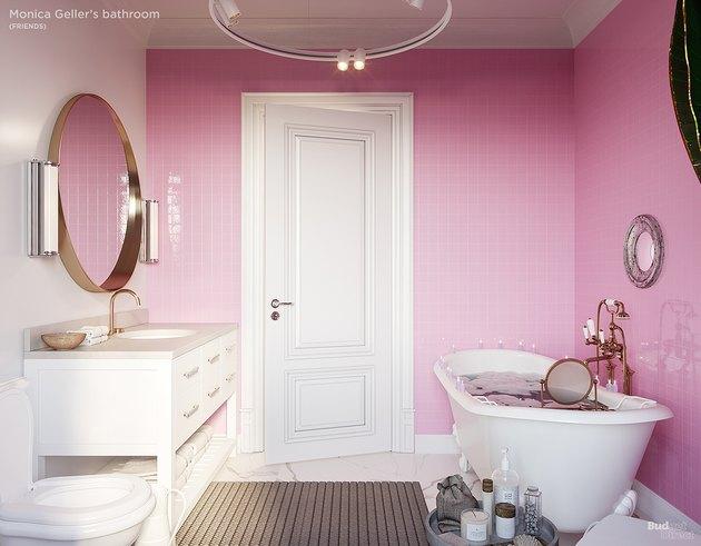 pink bathroom with soaking tub