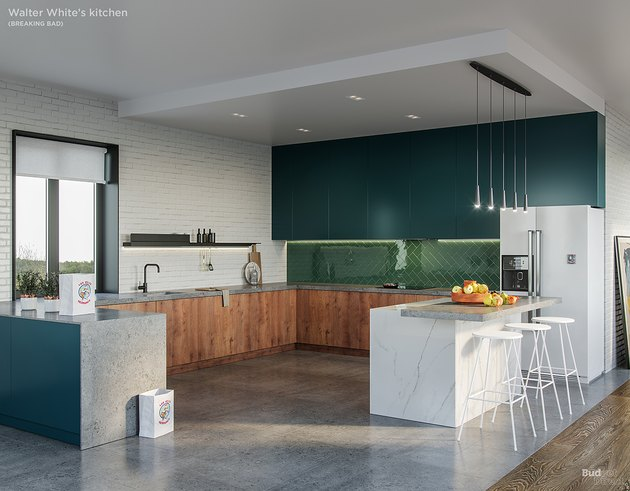 blue-and-green kitchen
