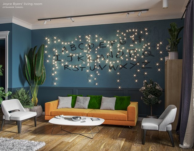 living room with alphabet on the wall