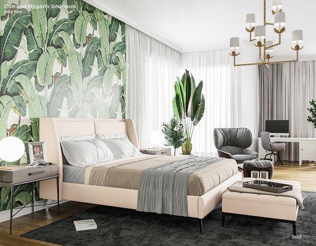 tropical-print bedroom