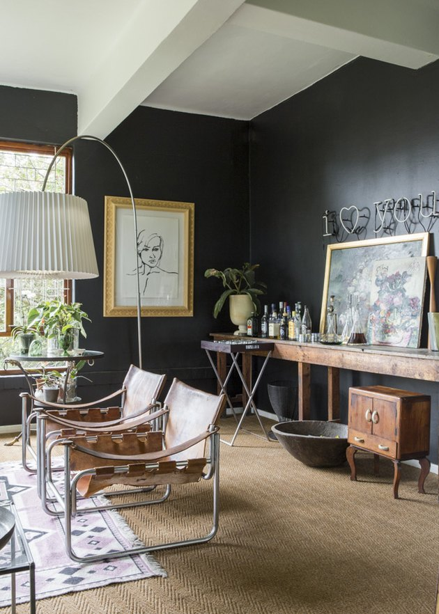 rustic living room with black walls