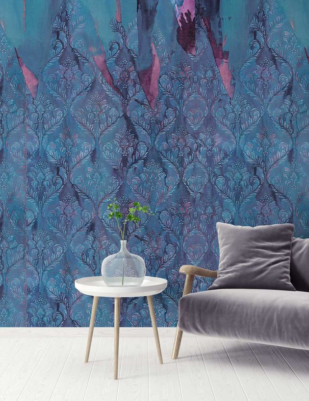 organic pattern wallpaper in blue and purple