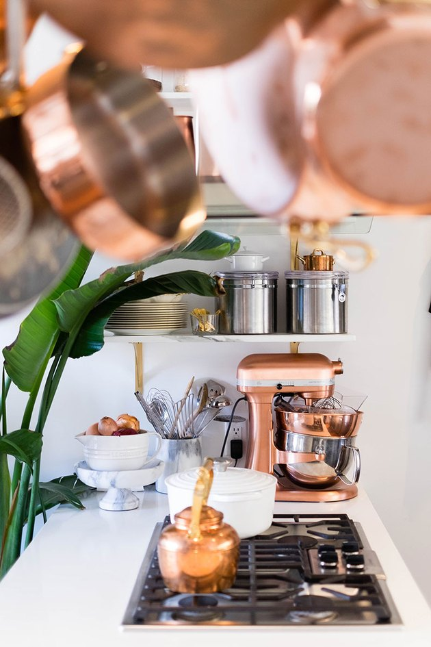 copper appliances in kitchen
