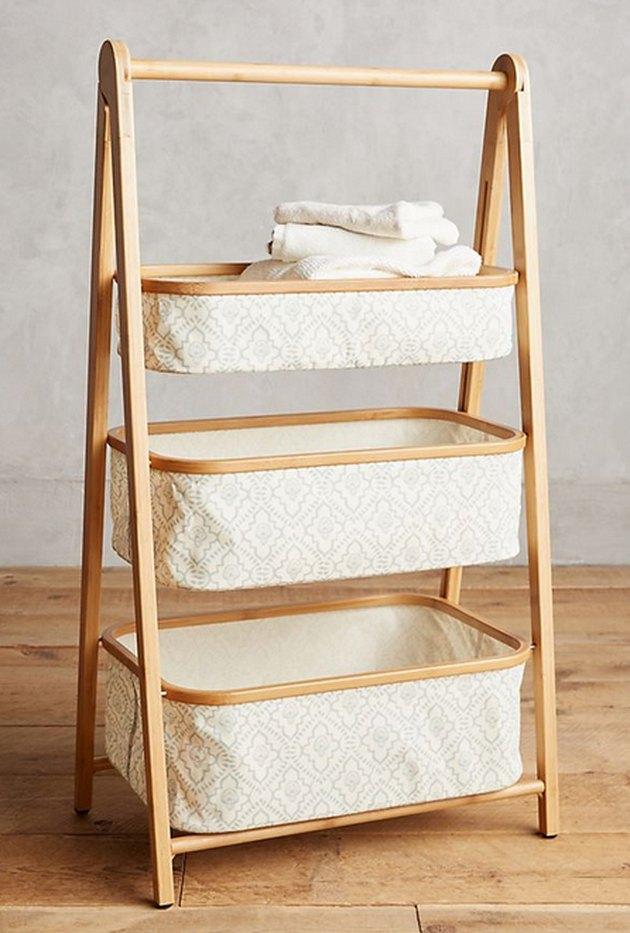 Anthropologie Three-Tier Bamboo Storage Shelf