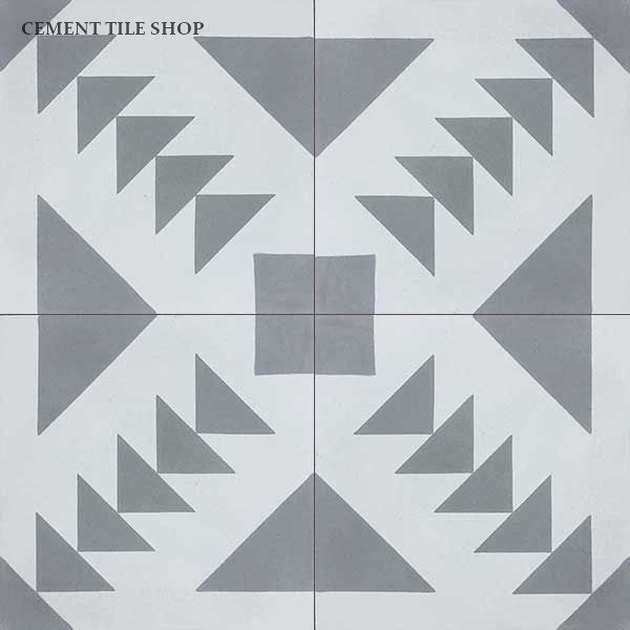 Dark gray and light gray geometric cement tile