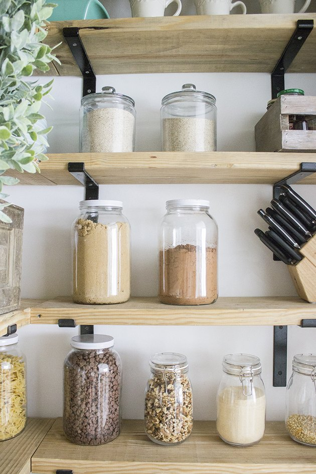 Clear jar kitchen pantry storage ideas