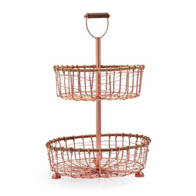 rose gold two tier wire stand