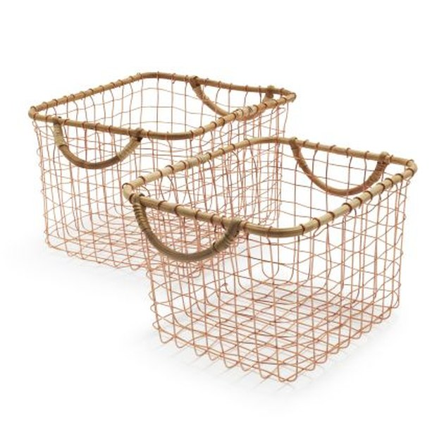 rose gold wire baskets