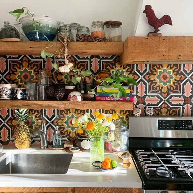 bohemian kitchen backsplash with patterned tile and open shelving