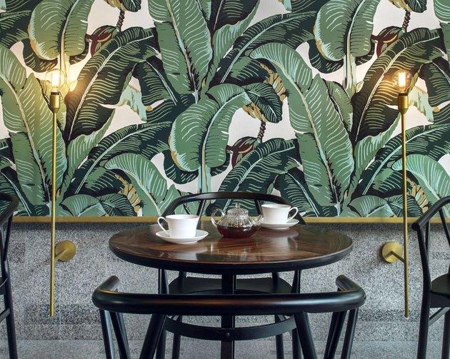 Odette Tea Room banana leaf wallpaper