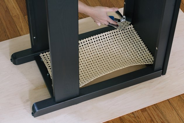 Stapling cane webbing inside IKEA console table