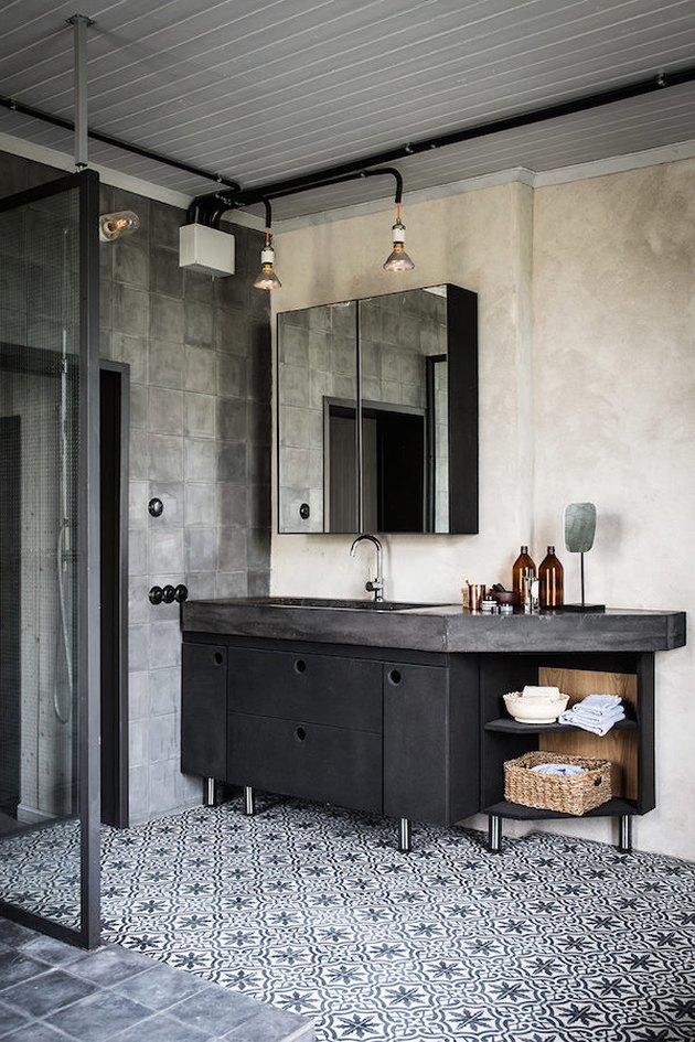 industrial bathroom patterned tile