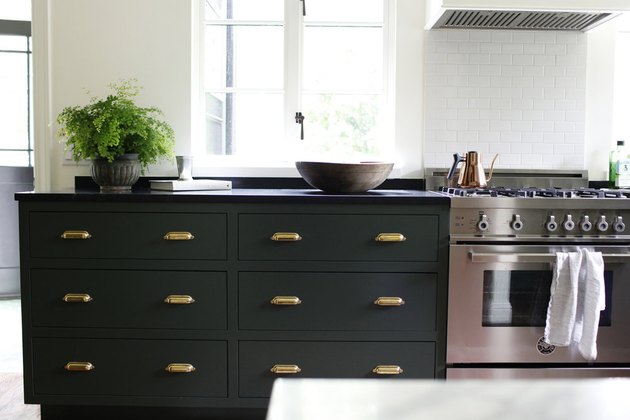 green kitchen cabinets subway tile