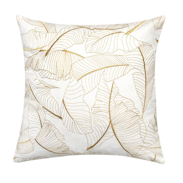 Better Homes & Gardens Satin Stitch Embroidered Botanical Palm Leaves Throw Pillow, $19.88