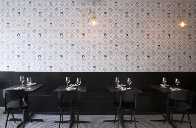 wallpaper on the wall in restaurant