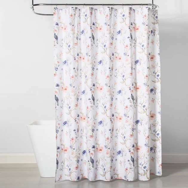 floral and bird print bathroom shower curtain idea