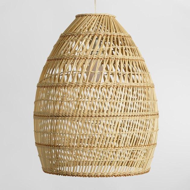 world market basket weave pendant lamp