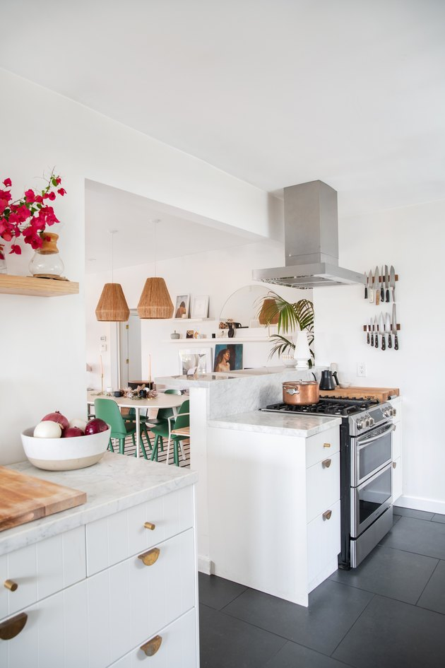 Designlovefest kitchen with white cabinets and open shelving